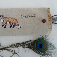 Handmade Personalised Fox Glasses Sunglasses Case Pouch Choice of Wording Unique