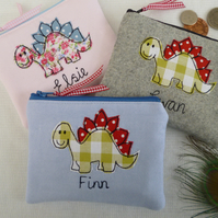 Handmade Personalised Dinosaur Dino Purse Wallet, Grey Blue or Pink & wording