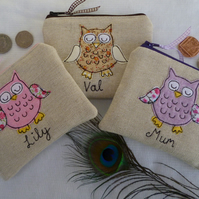 Personalised Owl Purse Wallet Choice of owl colour on linen & wording, lined