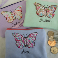 Personalised Butterfly Purse Wallet Lilac, Blue or Green & choice of wording