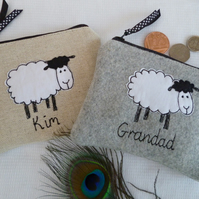Handmade Personalised Sheep Purse Wallet, Grey Wool or Linen & choice of wording
