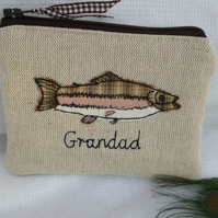 Personalised Trout Pouch Fish Purse Wallet Choice of wording Fathers Day Gift