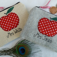 Personalised Teacher Gift Apple Purse Grey Wool or Linen & choice of wording