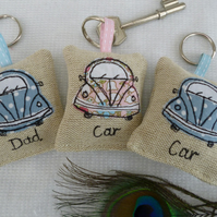 Car Key Lavender Scented Keyring on linen, pink or blue, option to personalise