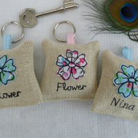 Flower Lavender Scented Keyring on linen, pink or blue, option to personalise