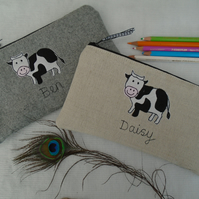 Handmade Personalised Cow pencil case, Grey Wool or Linen & choice of wording
