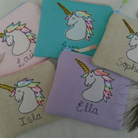 Personalised Unicorn Purse Wallet Lilac, Pink, Linen or Aqua & choice of wording