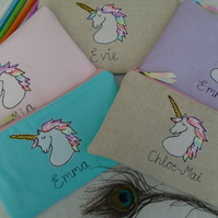 Personalised Unicorn Pencil Case Lilac Pink Linen or Aqua & choice of wording
