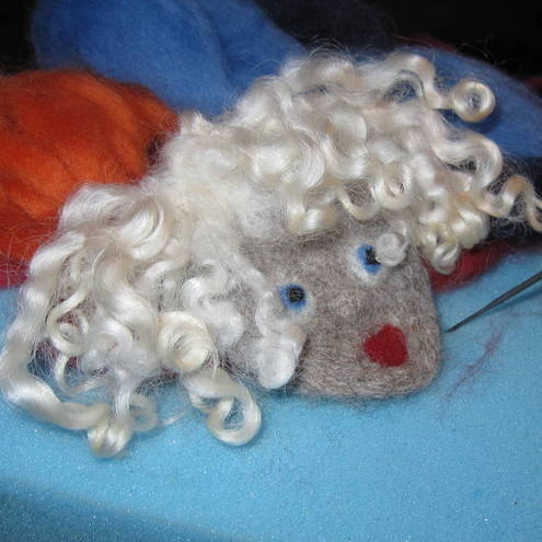 Needle Felted Brooch: Mrs Munch