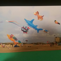 Kites on the beach greetings card.
