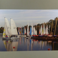 Colourful Boats Greetings Card. Blank inside.Any Occasion.