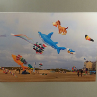 Kites on the beach greetings card