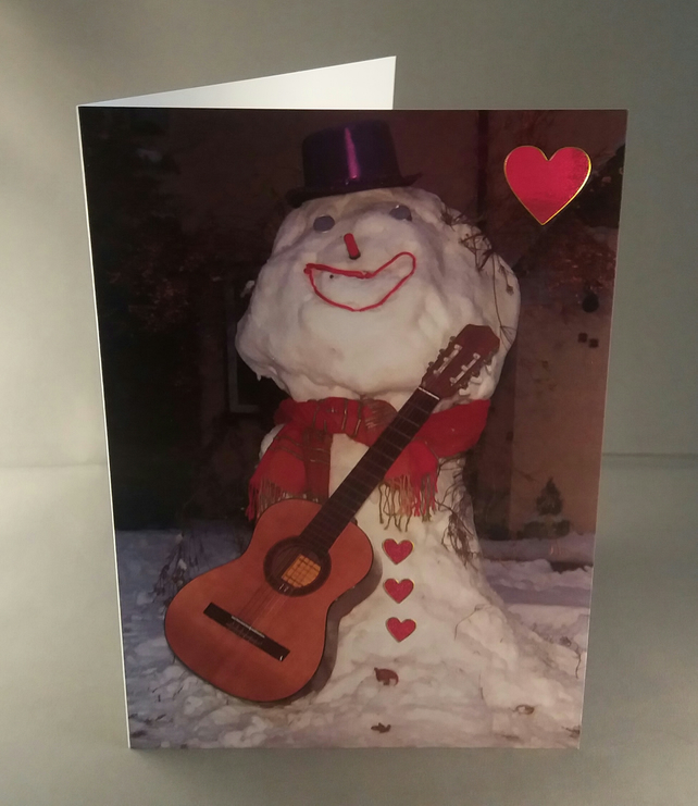 Anniversary card. Card for someone you love. Serenading Snowman Greetings Card.