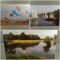 Set of 3 colourful landscape greeting cards