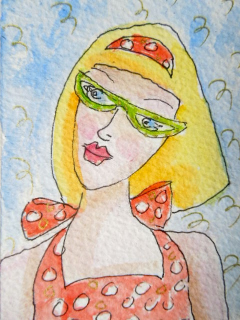 Original little watecolour painting aceo - Sunseeker..