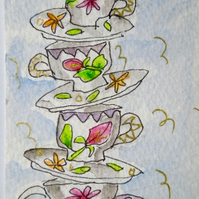 An original little watercolour aceo - Rattling teacups.