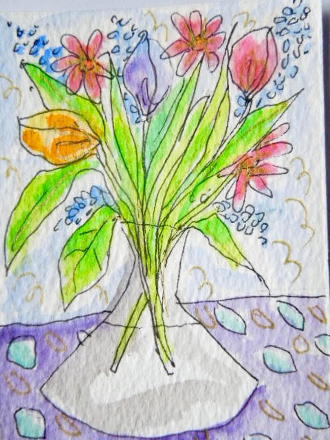 Original aceo watercolour painting - Spring bouquet