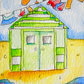 Original aceo watercolour painting -  Posh beach hut.