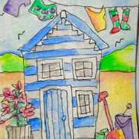 An original little watercolour aceo - His shed.