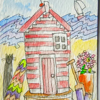 original aceo watercolour painting - Her shed.
