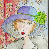 Original aceo watercolour painting -  Vintage style.