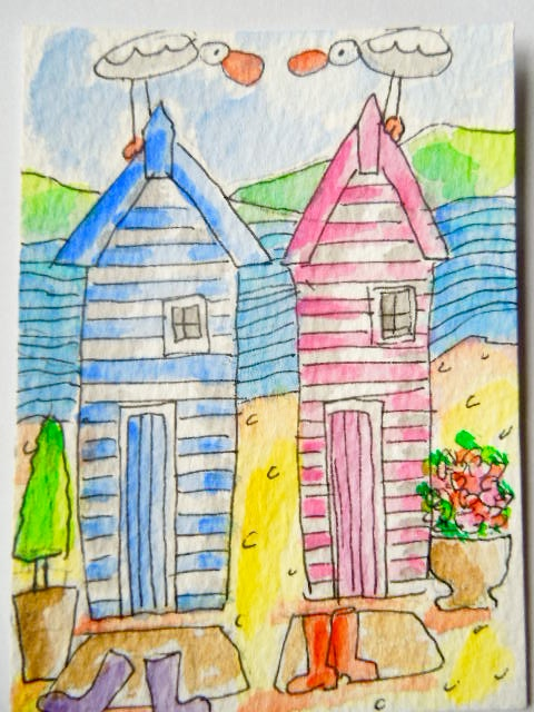 Original aceo watercolour painting -His 'n hers.