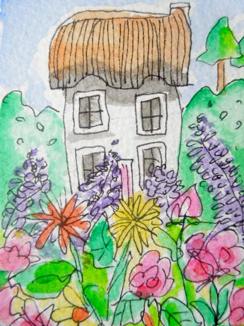 An original watercolour painting aceo - Green fingers.