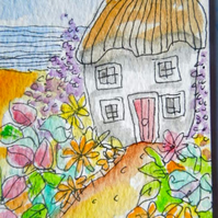 Original little watercolour aceo painting - Cottage by the sea.