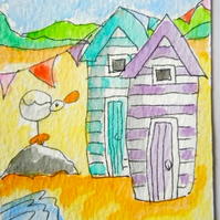 Original little watercolour aceo painting - On the beach.