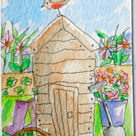 original little watercolour aceo painting - At the bottom of our garden.