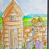 Original little watercolour painting - Down the allotment.