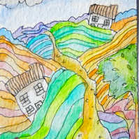 Original aceo watercolour painting -  Patchwork fields.