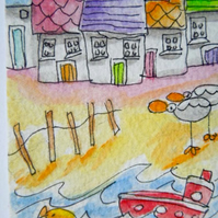 Original aceo watercolour painting - On the beach.