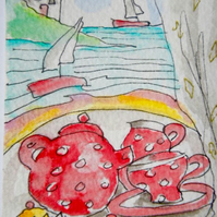 Original aceo watercolour painting -  Tea and cakes.