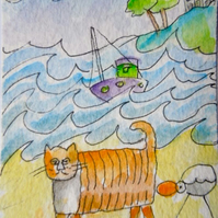 Original aceo watercolour painting -  Cat with seagull..