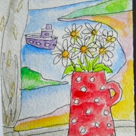 Original little watecolour painting  aceo - Jug of daisies
