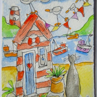 Original aceo watercolour painting - Follow my leader.