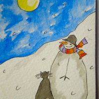Original little ACEO watercolour painting - Not a creature was stirring.