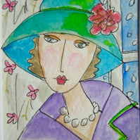 ACEO original watercolour painting - Vintage lady.
