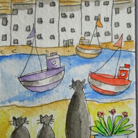 ACEO original watercolour painting - Cats by the river.