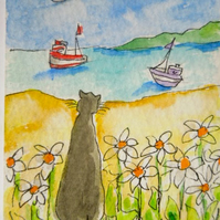 ACEO original watercolour painting - Cat among the daisies.