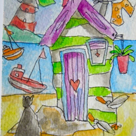 ACEO original watercolour painting - Cat watching lighthouse.