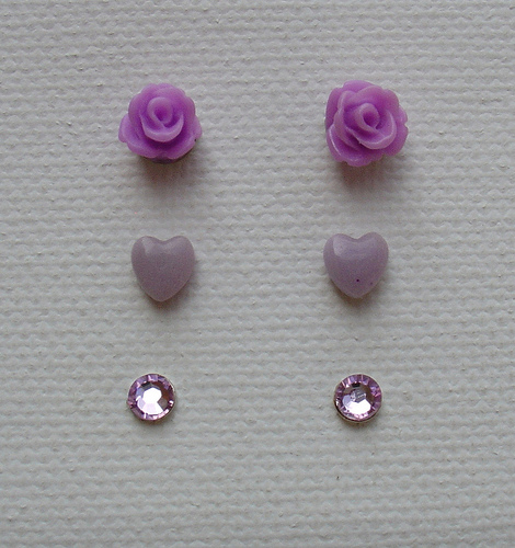 3x Lilac Lavender Purple Lilac Resin Rose Flower Clay Heart Swarovski Stud Set