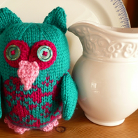 Green and pink Knitted & Crocheted Owl