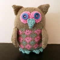 RESERVED Green, pink & duck egg knitted owl