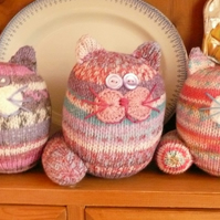 Knitted fairisle cat