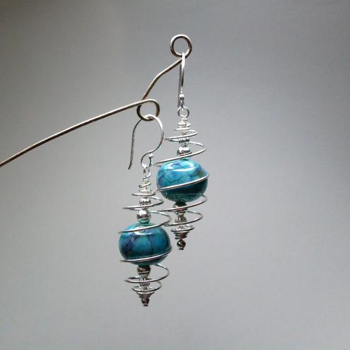 Caged lampwork bead earrings