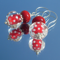 Red and white lampwork bead earrings