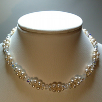 Swarovski crystal and cream rose crystal pearl bridal necklace