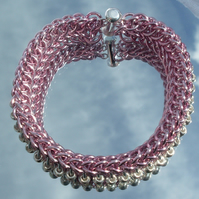 Pink and Silver 'Dragonback' cuff bracelet